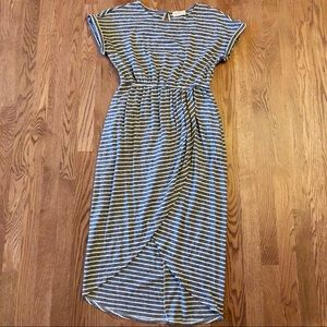 Striped Dress The Nines M Navy High Low Fishtail